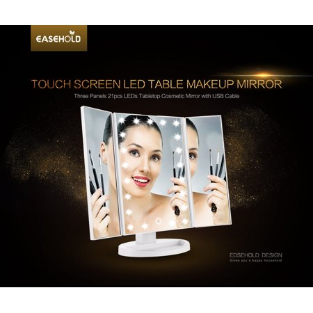 Easehold Cosmetic Makeup Mirror Tri Fold Lighted Vanity Mirror Three