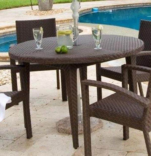 Patio Dining Table 48 in. Round in Rehau Fiber Java Brown Finish