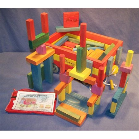 THE PUZZLE-MAN TOYS W-1512 Wooden Toy - 3-Tier Wooden Wagon With 75 Building Blocks - image 1 of 1