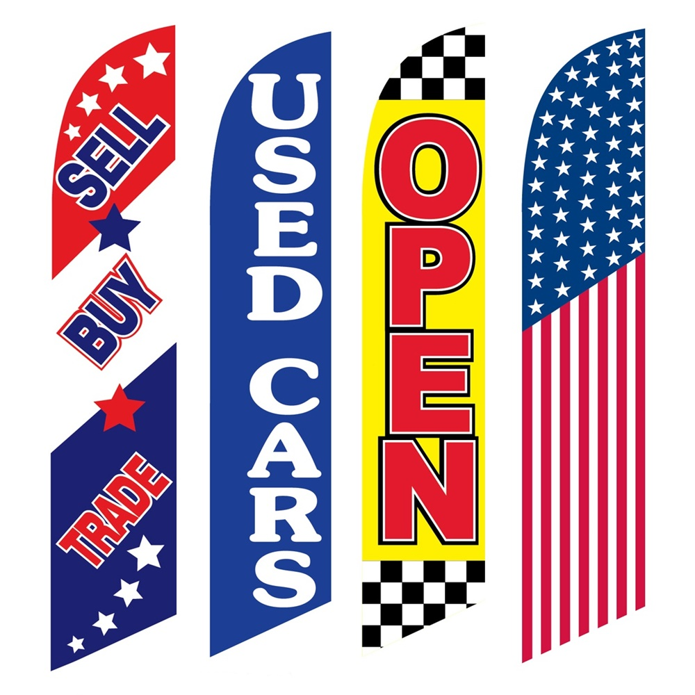 4 Advertising Swooper Flags Sell Buy Trade Used Cars Open America