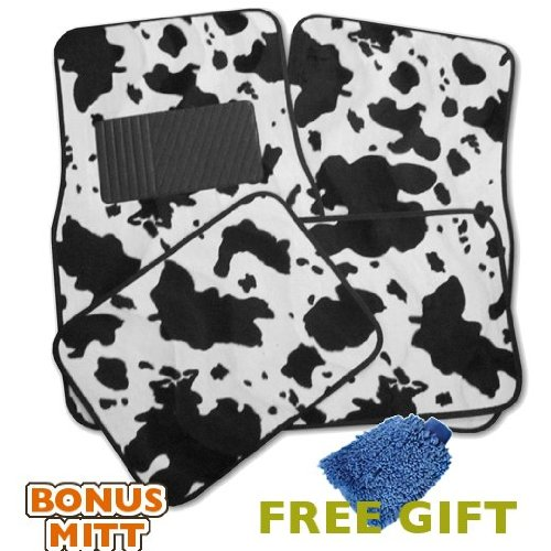 A Set of 4 Universal Fit Animal Print Carpet Floor Mats for Cars   Truck Cow Print & Bonus Detailing WASH MITT by LavoHome
