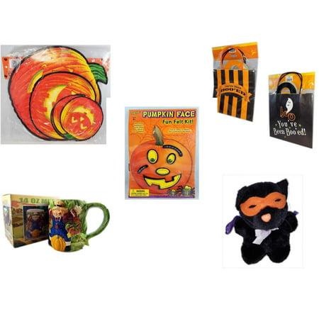 Halloween Fun Gift Bundle [5 Piece] - Classic Pumpkin Cutouts Set of 9 -