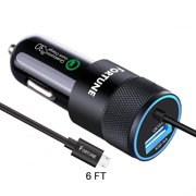 Samsung Galaxy S7 Car Charger, Samsung Car Charger Fast Charging with Quick Charge 3.0 Integrated 6 Ft Micro USB Cable & 2.4A Port Compatible to S7 Edge, Plus, Note, Nexus, HP, HTC, LG, Motorola Etc