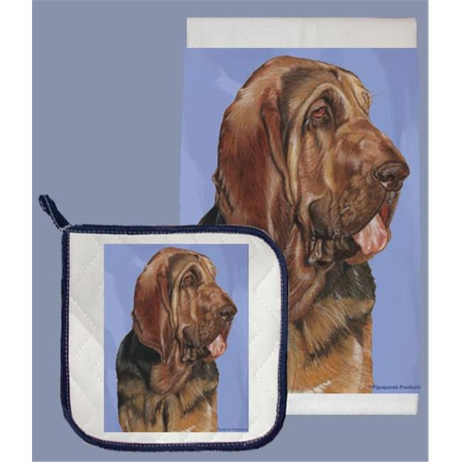 Pipsqueak Productions DP721 Bloodhound Dish Towel And Pot Holder Set