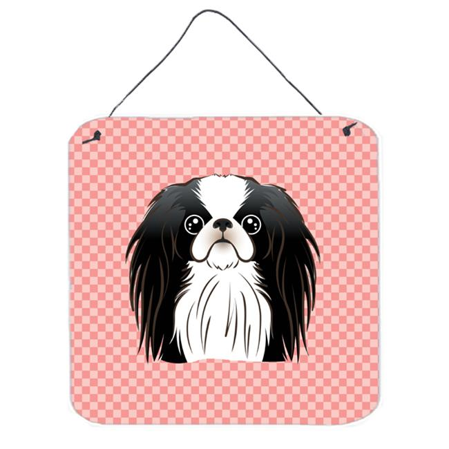 Checkerboard Blue Japanese Chin Aluminum Metal Wall Or Door Hanging Prints, 6 x 6 In.