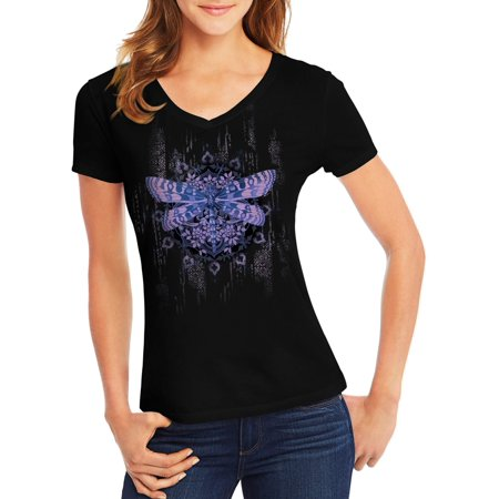 Women's Short-Sleeve V-Neck Graphic T-Shirt Dragonfly Clothing Embroidered Shirt