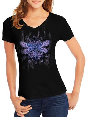 Women's Short-Sleeve V-Neck Graphic T-Shirt