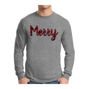 Awkward Styles Xmas Merry Plaid Ugly Christmas Sweater Long Sleeve T-shirt For Men