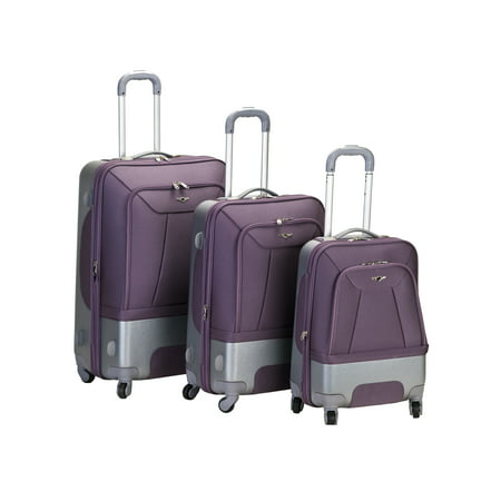 Rockland Luggage Rome 3 Piece Hybrid Softside (EVA)/Hardside (ABS) Spinner Luggage Set, Multiple Colors