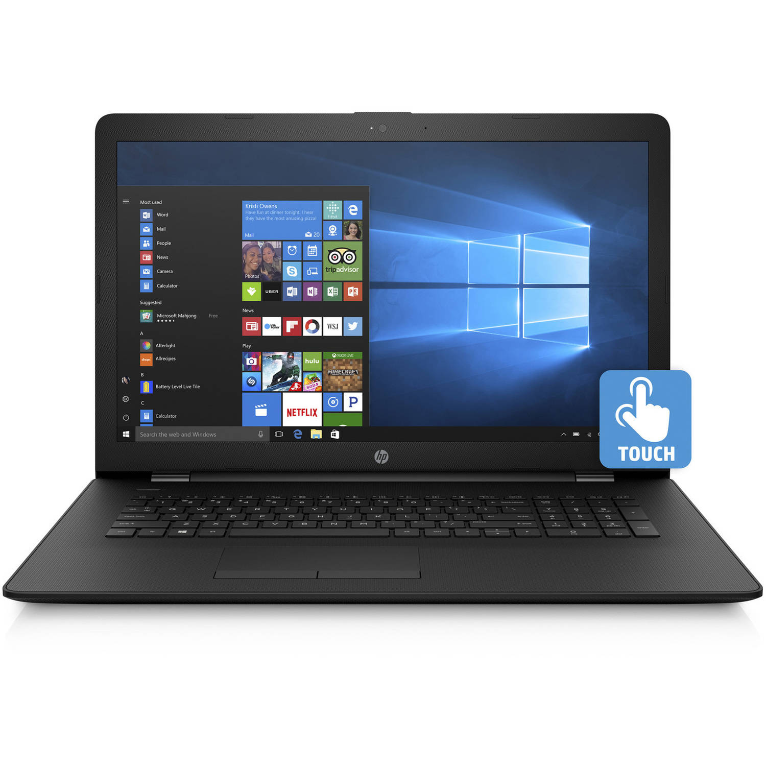 "HP 17-Bs020Nr 17.3"" Laptop, Touchscreen, Windows 10 Home, Intel Core i3-6006U Dual-Core Processor, 8GB RAM, 1TB Hard Drive"