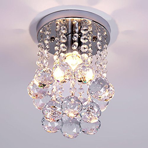 NAVIMC Mini Modern Crystal Chandeliers Rain Drop Pendant Flush Mount Ceiling Light Lamp ,Diameter6.29 Height 9 Inch