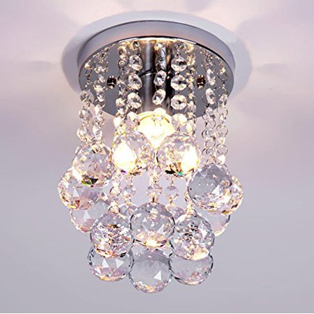 NAVIMC Mini Modern Crystal Chandeliers Rain Drop Pendant Flush Mount Ceiling Light Lamp ,Diameter6.29 Height 9 Inch by