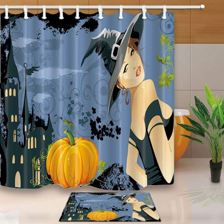 ARTJIA Halloween Decor Beautiful Witch and Pumpkin Shower Curtain 66x72 inches with Floor Doormat Bath Rugs 15.7x23.6 inches - 100 Floors Halloween Level 30