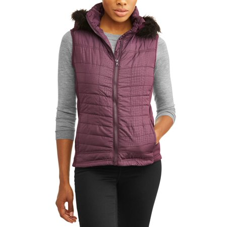 Climate Concepts Women's Faux Fur Trim Fur Hooded Vest - Gangster Vest