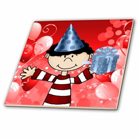 3dRose White Kid in Red Stripes Blue Birthday Hat Red Balloons and Gift - Ceramic Tile, 6-inch