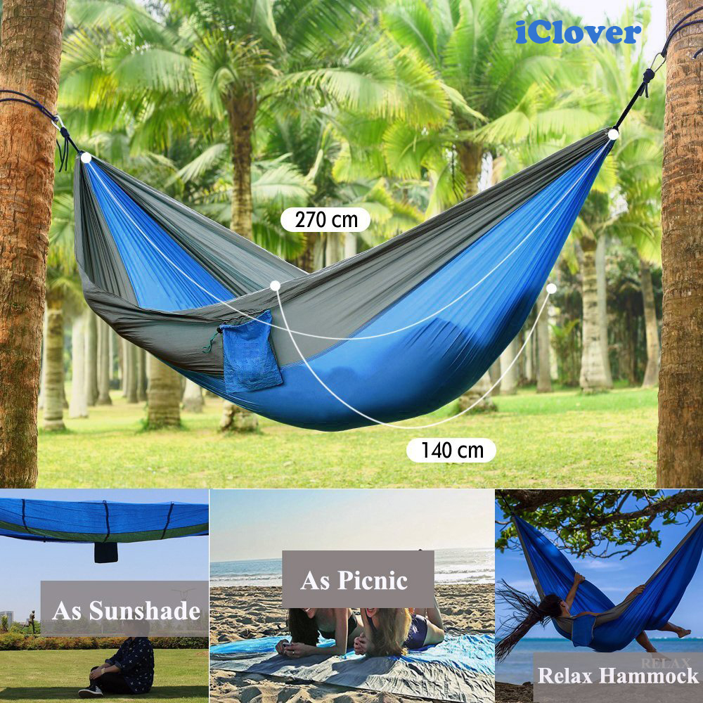 Camping Hammock Double Person, IClover Portable Parachute Nylon Lightweight Quick Dry Outdoor Tree Hammock with 2 x Hanging Ropes & Carabiner for Backpacking Travel Survival Beach Yard Patio Backyard
