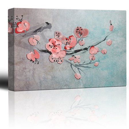 wall26 - Cherry Blossom Branch over a Blue Abstract Watercolor Background - Giclee Prints Canvas Wall Art Modern Home Decor | Stretched Gallery Wrap Ready to Hang - 24x36 inches