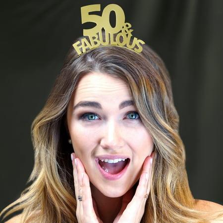 50 & Fabulous Gold Headband - Birthday Ideas, Birthday Party, Birthday Party Supplies, Birthday Girl, Birthday Headband, Birthday Tiara, Birthday Gift