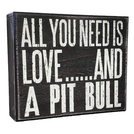 - JennyGems All You Need is Love and a Pit Bull (Pitbull) - Stand Up Wooden Box Sign - American Pit Bull Terrier Home Decor - Pitt Decorations and Accessories - Dog Artwork