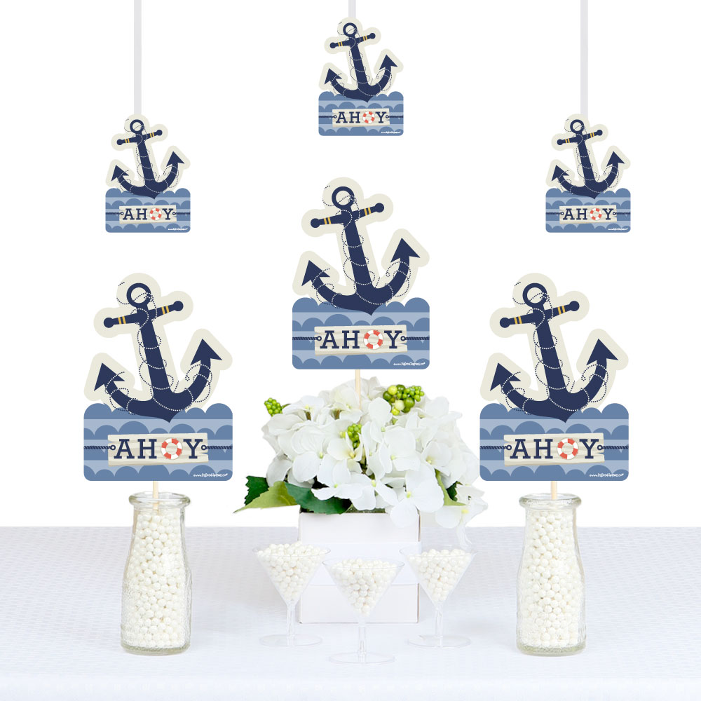 Ahoy - Nautical - Anchor Shaped Decorations DIY Baby Shower or Birthday Party Essentials - Set of 20