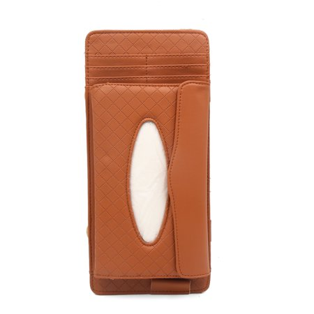 Car Sun Visor Brown Faux Leather Tissue Box Holder Paper Napkin CD (Brown Leather Cd Holder)