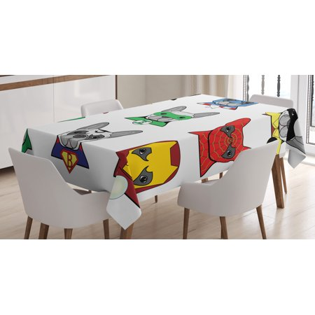 Superhero Tablecloth, Bulldog Superheroes Fun Cartoon Puppies in Disguise Costume Dogs with Masks Print, Rectangular Table Cover for Dining Room Kitchen, 60 X 84 Inches, Multicolor, by Ambesonne