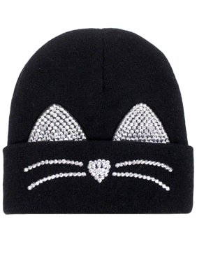 Product Image David   Young Womens Black Rhinestone Kitty Cat Beanie Hat  Knit Stocking Cap cce8ec73f6b8