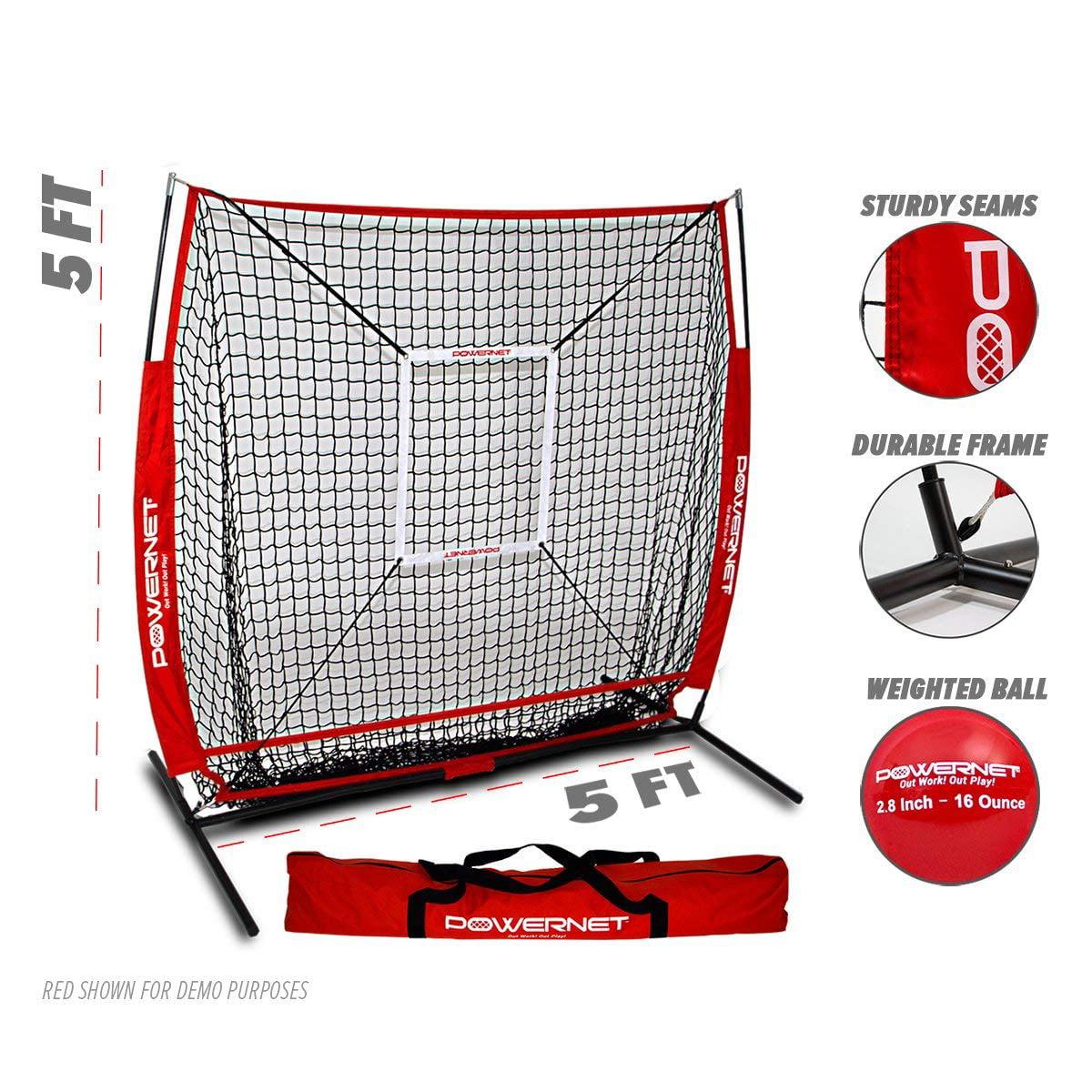 12bbd2744 PowerNet 5x5 Baseball Softball Practice Hitting Net Bundle (w/ strike zone  + training ball)