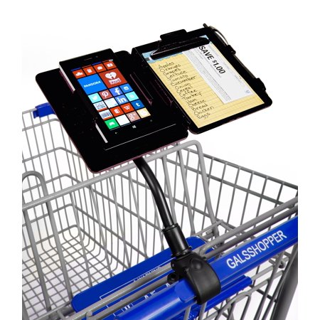 GalsShopper Black All In One Clip-On Shopping Cart Organizer Keep your essentials handy while you shop. The Gals Shopper all-in-one portable shopping organizer clips to the handlebars of any shopping cart, creating a convenient way to organize for any shopping trip. It holds any size smart cell phone, coupons, a shopping list, and pen.   Shop hands free, shop organized, shop looking up, shop smart, now you are in control of your shopping experience! Designed in U.S.A., the innovative exclusive shopping cart or baby stroller attachment the GalsShopper! Limited Lifetime Warranty covers the GalsShopper only, phone usage and any damage to it while using the GalsShopper is at the purchasers responsibility. Brochure with easy step by step instructions in every package. GalsShopper easy on off quick release clamp easily adjusts to fit any shopping cart handlebar at Target, Walmart, Whole Foods, Costco, Sams Club, AmazonGo, major Supermarket chains, etc. GalsShopper holds any size smart phone comfortably and securely including the IPhone Xs Max, IPhone Xs, IPhone XR, IPhone 8, IPhone 8 Plus, IPhone X, IPhone 7 Plus, IPhone7, IPhone 6 Plus, IPhone 6, IPhone SE, IPhone 5, Android, No.1 M2, Samsung Galaxy 8+ and 8, Galaxy Note 4 and 5 and Edge, Nexus 5 and 6, OnePlus One and Two, Microsoft Lumina and 640XL, Sony Xperia L1, Xperia X, Xperia ZI, Google Pixel, Pixel 2, Pixel XL, Pixel 3, all Moto's and Huawei's, etc... providing you an accident free shopping experience of dropping your phone, shopping list, coupons from your purse or hand, or looking down dozens of times, or forgetting them at home, in the car, or at the register. Let your GalsShopper hold it all in one place securely, right in front of you at eye level while you shop with ease!