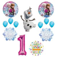 Ultimate Frozen Birthday Party Supplies Olaf, Elsa and Anna Balloon Bouquet Decorations Pink (