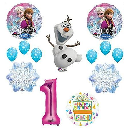 Frozen 1st Birthday Party Supplies Olaf, Elsa and Anna Balloon Bouquet Decorations Pink - Frozen Birthday Decoration