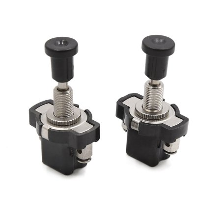 2pcs Universal Black Car Auto Headlight On Off Push Pull Light Switch 5.1cm