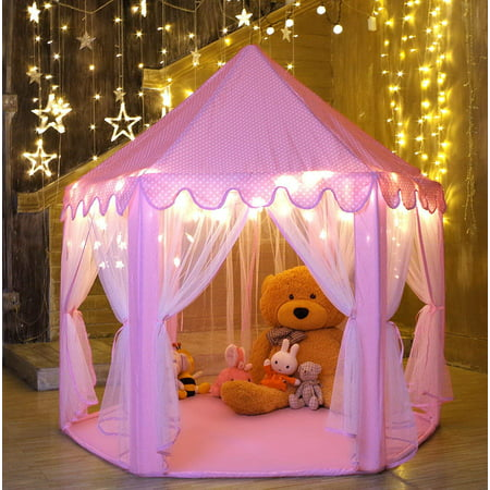 Zerone Kids Play Tent Large Hexagon Pink Castle With LED Lights For Girls Boys Toddlers Indoor Outdoor Use, Best