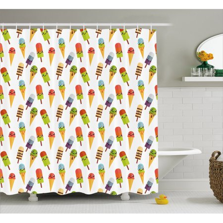 Ice Cream Decor Shower Curtain, Yummy Cones in Various Colors with Emoji Faces Kids Boys Cartoon Design, Fabric Bathroom Set with Hooks, 69W X 70L Inches, Multicolor, by - Ice Cream Cone Emoji