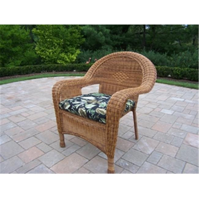 Oakland Living Corporation 90030-C-BF-NT Resin Wicker Arm Chair with Cushion