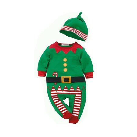 StylesILove Unisex Baby Holiday Elf Long-Sleeved Costume Romper (3-6 Months) (3-6 Month Old Baby Halloween Costumes)