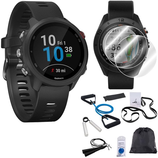 Garmin Forerunner 245 GPS Music Sport Watch (Black) with 7-Piece Fitness Kit Bundle
