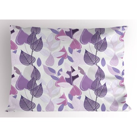 Floral Pillow Sham Foliage Leaves in Purple Tones Soft Leafage Vintage Abstract Nature Plants, Decorative Standard King Size Printed Pillowcase, 36 X 20 Inches, Lavander Lilac Beige, by Ambesonne