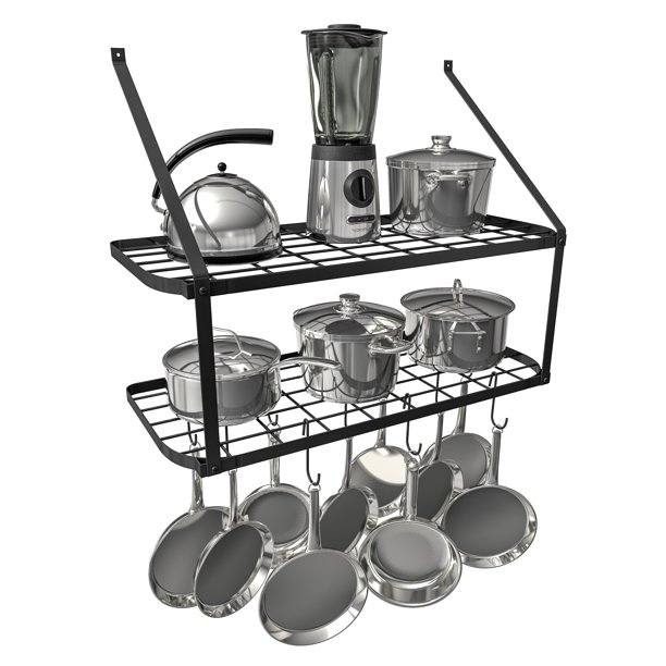 vdomus shelf pot rack wall mounted pan hanging racks 2 tire black