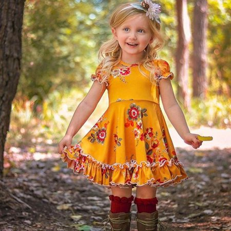 Little Girls Toddler Dresses Short Bubble Sleeve Kids Floral Casual Princess Fairy Princess Dress Party Beach Dress for 6M-6Yrs Green - Fairy Dresses For Children