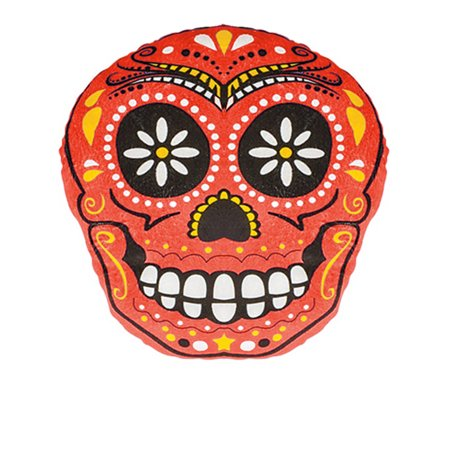 Day Of The Dead Red Skull Pillow Halloween Decoration Accessory - $1 Halloween Decorations