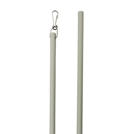 36 Inch White Fiberglass Drapery Baton-Curtain Wands-with Stainless Steel Snap Hooks (1 Piece) ()