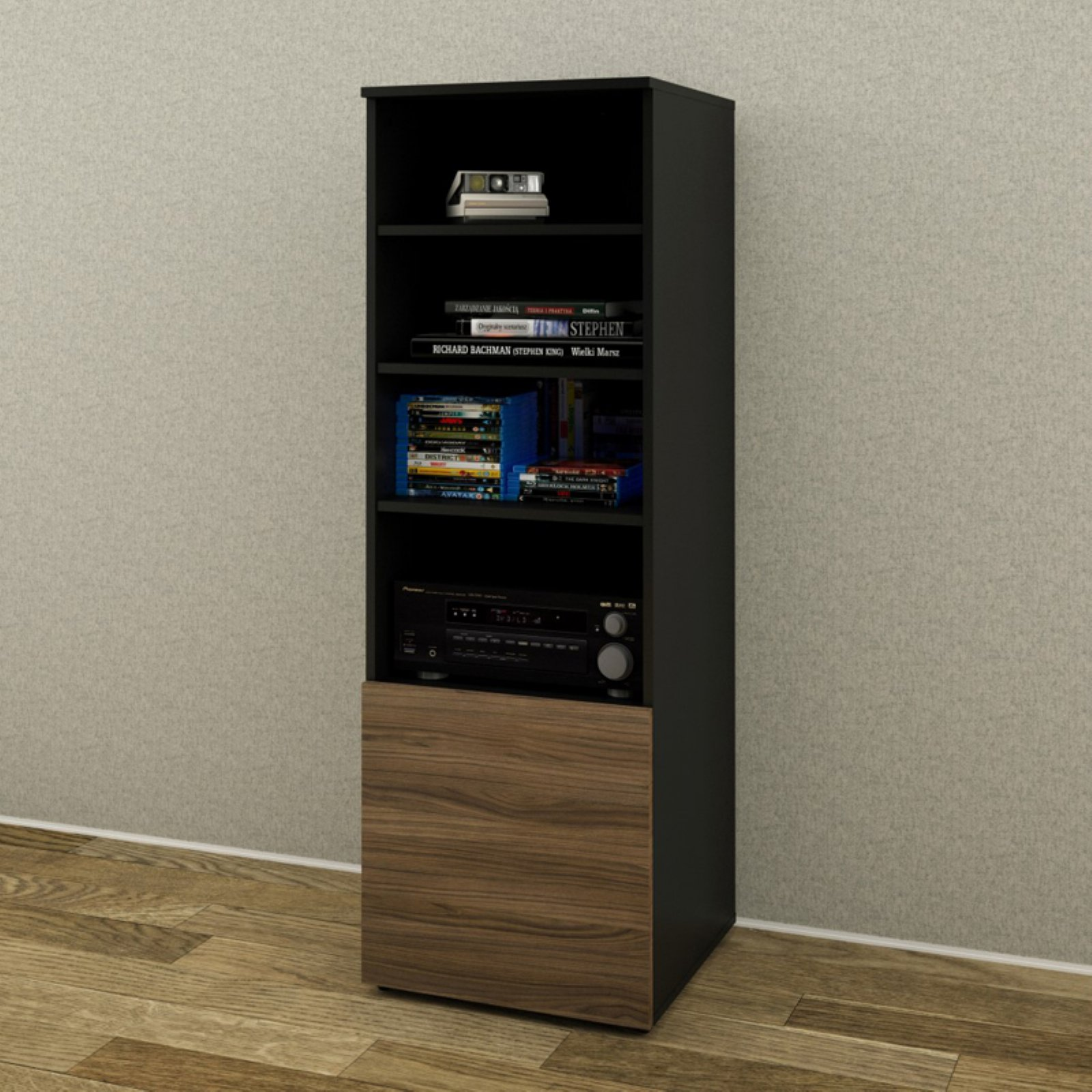 Nexera Next Bookcase/Audio Tower, Black and Walnut