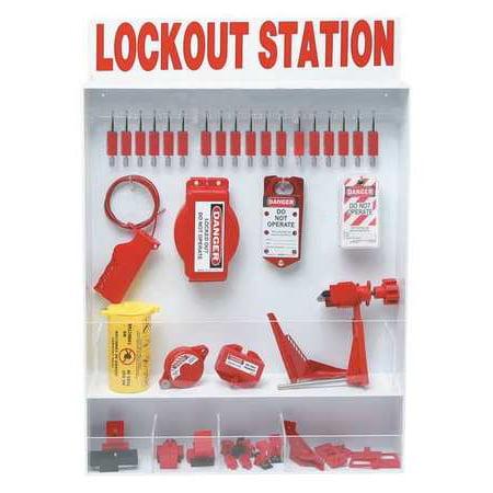 Complete Lockout Station (BRADY 99700 Lockout Station, Electrical, 18 Padlocks )