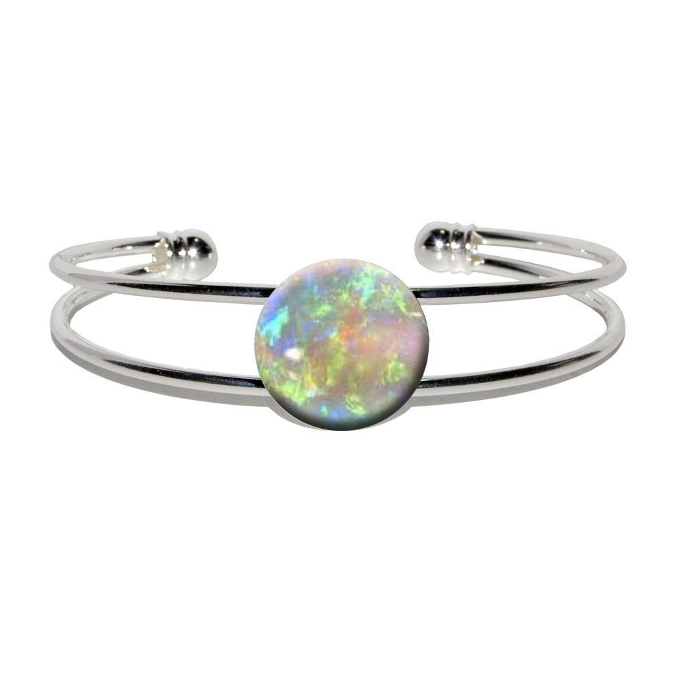 Opal October Birthstone Faux Resin Silver Plated Metal Cuff Bracelet by Graphics and More