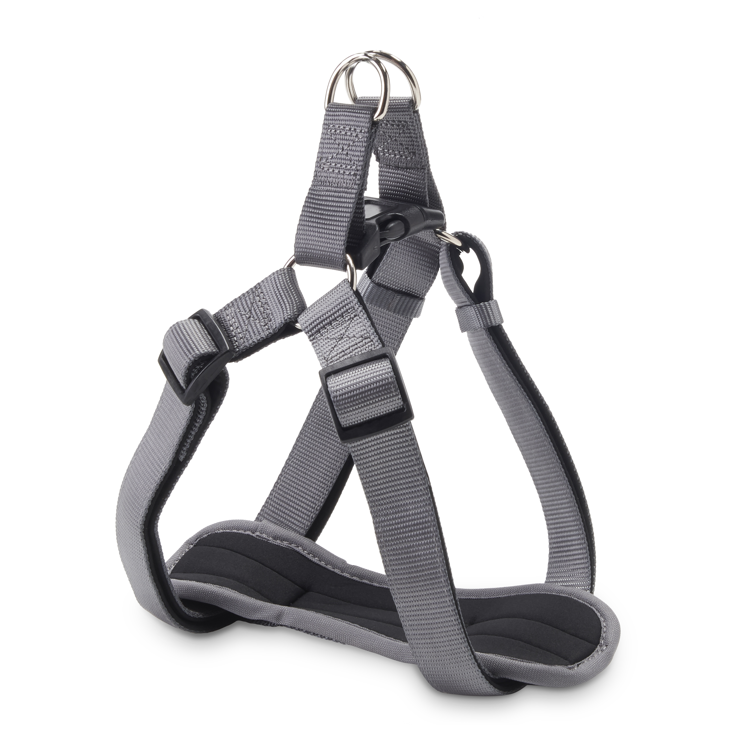 Vibrant Life Comfort Gray Padded Dog Harness, Large, 22-36""