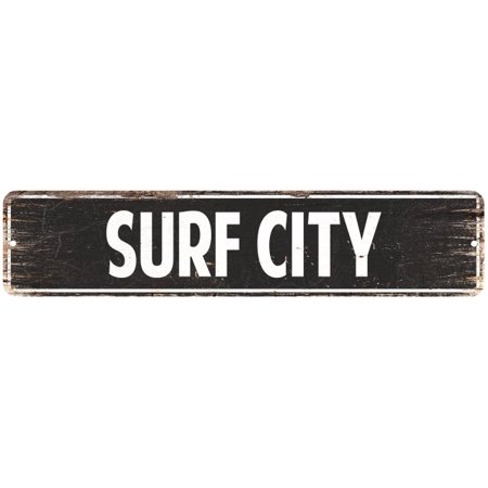 California Vintage Surf Sign - Surf City Vintage Look Personalized Metal Sign Chic 4x18 204180008058