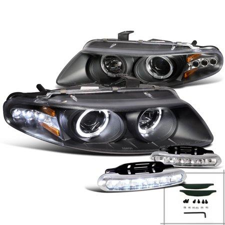 Spec-D Tuning 1997-2000 Dodge Avenger Chrysler Sebring Black Projector Headlight + Led Bumper Fog Lamp (Left + Right) 97 98 99 00