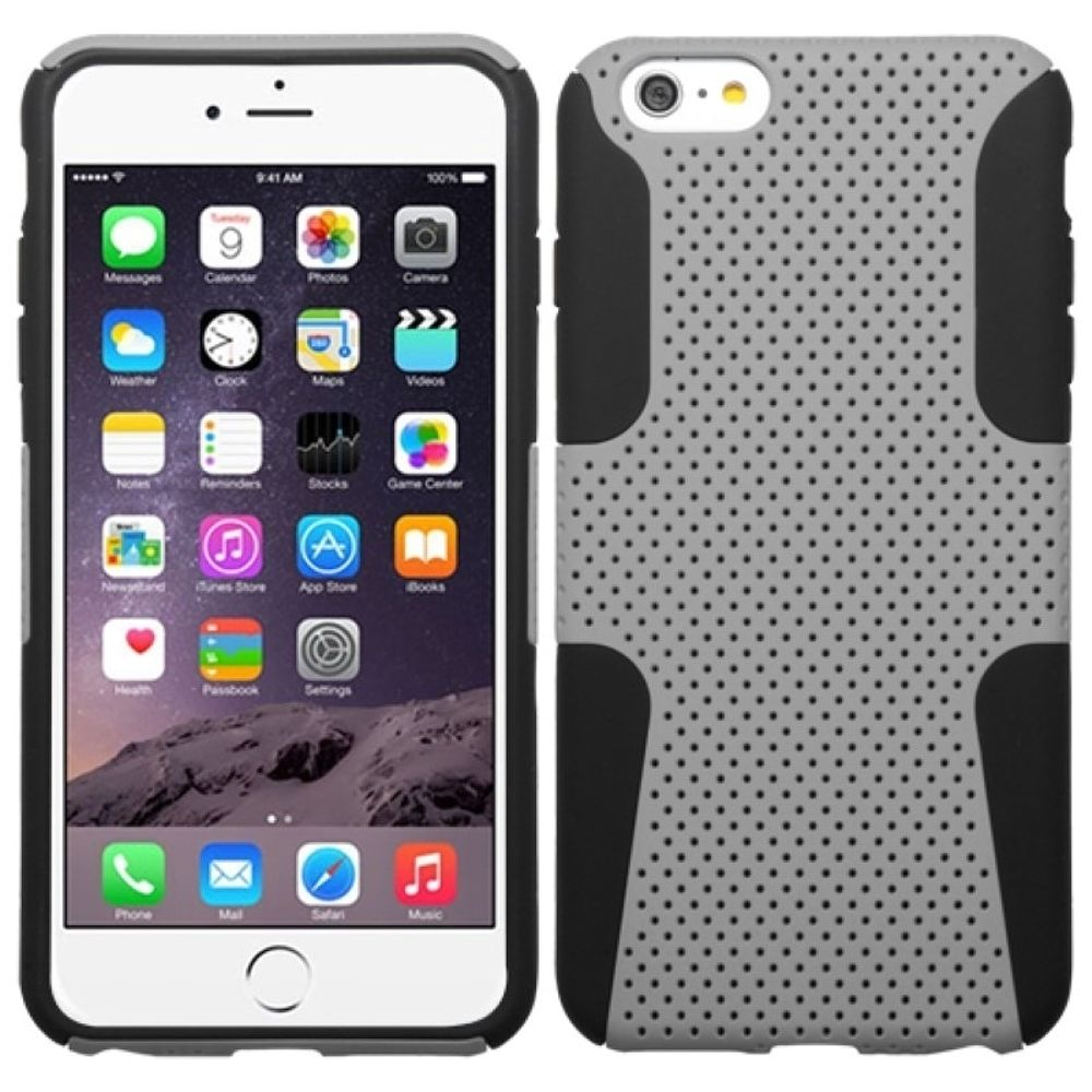 "Insten Mesh Hard Hybrid Rugged Shockproof Plastic Silicone Case For iPhone 6 Plus / 6S Plus 5.5"" - Gray/Black"