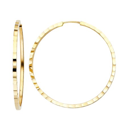 1.5mm Solid 14K Yellow Gold Square Tube Hoop Earrings